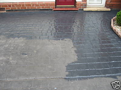 half complete drive block paving in grey